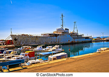 Titov Galeb ship wreck docked, former command ship of...