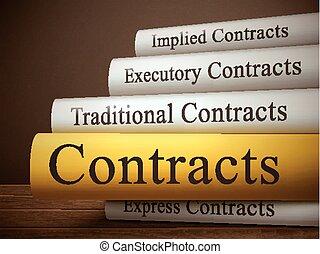 titre, contrats, isolé, bois, livre, table