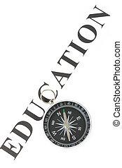 titre, education, et, compas