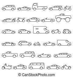 titre, modèles, voiture, set., icônes, moto, motocyclette, automobile, type