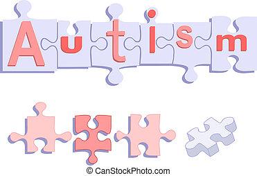 titre, puzzle, autism, morceaux