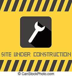 titre, site, jaune, construction, fond, sous, clé, icône