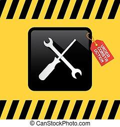 titre, tournevis, jaune, étiquette, construction, arrière-plan noir, sous, clé, rouges