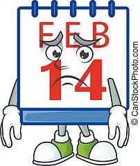 titta, ansikte, bild, 14, kalender, visande, räddt, valentinbrev