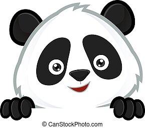 tittande, tom, panda, underteckna