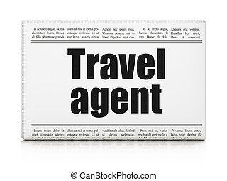 titular, agente de viajes, periódico, turismo, concept: