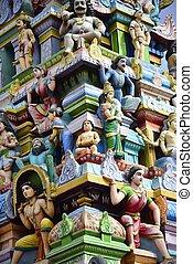 Tituttani - Beautiful sculptures at the gopuram Subramaniya...