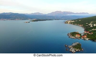 Tivat, the view from the peninsula Lustica. Bay of Kotor, Monten