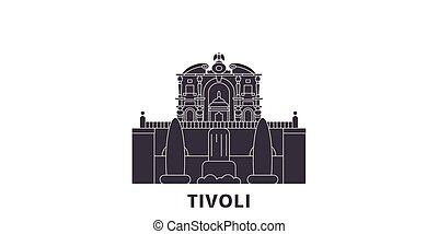 tivoli, 平ら, 別荘, 都市, イタリア, 旅行, イラスト, landmarks., シンボル, スカイライン...