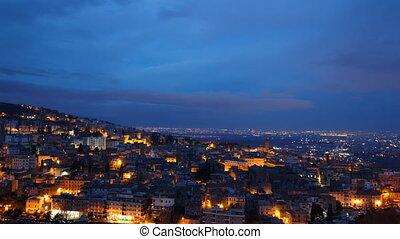 Tivoli at dawn. Zoom. Italy. Time Lapse