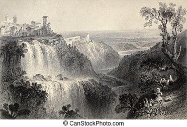 Tivoli - Antique illustration of Tivoli waterfalls, near...