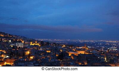 tivoli, italy., ville, toits, timelapse, night-day.