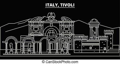 Tivoli silhouette skyline. Italy - Tivoli vector city, italian linear architecture, buildings. Tivoli travel illustration, outline landmarks. Italy flat icons, italian line banner