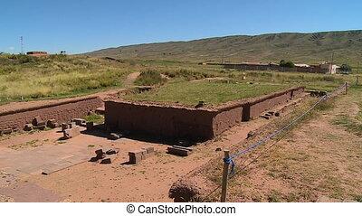 Medium high angle still shot of a rural Tiwanaku ruins, La Paz, Bolivia