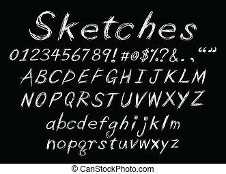 tiza, alfabeto, bosquejo