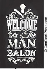 Tiza, cartel, barbería