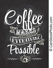 tiza, cartel, café, letras
