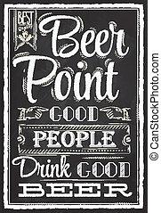 tiza, cartel, cerveza, punto