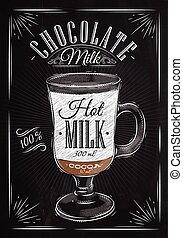 tiza, cartel, chocolate con leche