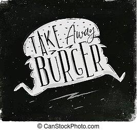 tiza, cartel, lejos, toma, hamburguesa