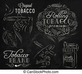 tiza, colección, tabaco
