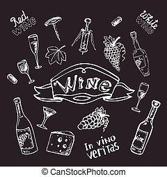 tiza, conjunto, tabla, vino