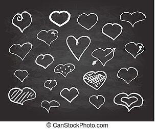 tiza, corazón, conjunto, garabato, iconos