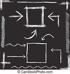 tiza, dibujado, vector, arrows., mano