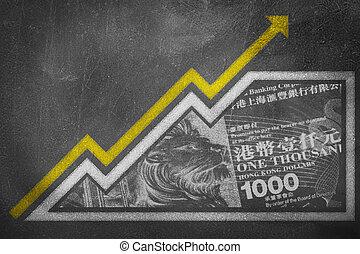 tiza, dinero, crecimiento, tabla, gráfico