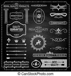tiza, elementos, diseño, textura