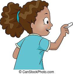 tiza, escribir, niña, asimiento, niño