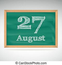 tiza, inscripción, 27, agosto, pizarra