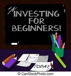 tiza, o, outlay, beginners., empresa / negocio, inversión, ...