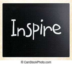 "tiza, pizarra, blanco, manuscrito, ""inspire"""