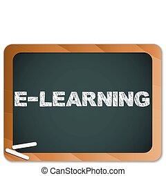tiza, pizarra, escrito, mensaje, e- aprendizaje