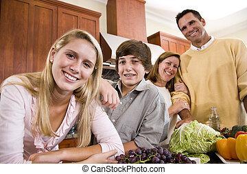 tizenéves, boldog, gyerekek, család, konyha