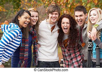 tizenéves, csoport, hat, liget, ősz, móka, barátok, ...