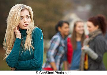 tizenéves, felborít, háttér, pletykál, lány friends