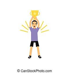 tizenéves fiú, gold csésze, atlétikai, ábra, vektor, sport, hadizsákmány