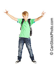 tizenéves fiú, hosszúság, tele, portré