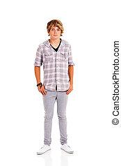 tizenéves fiú, tele, elszigetelt, hosszúság, portré