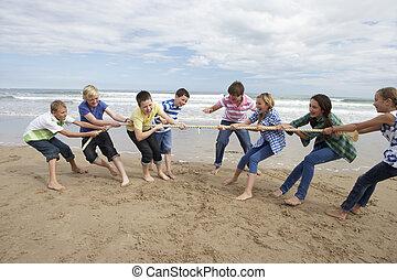 tizenéves, játék, kötélhúzás