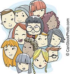 tizenéves kor, arc, közül, különböző, faj