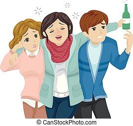 tizenéves lány, barátok, részeg