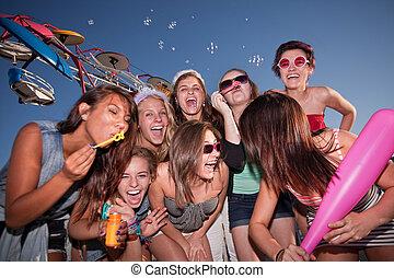 tizenéves lány, csoport, nevető