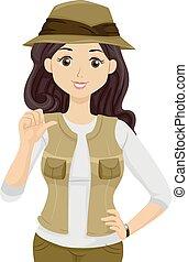 tizenéves lány, felfedező, földrajztudós