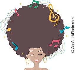 tizenéves lány, haj, zene