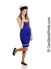 tizenéves lány, tengerész öltöny
