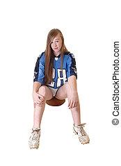 tizenéves, leány, ülés, képben látható, football.