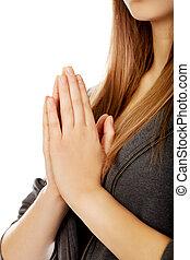 tizenéves, nő, praying-religion, fogalom